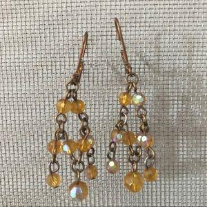 Jewelry - ✨BOGO: Gold chandelier earrings w/ amber beads✨